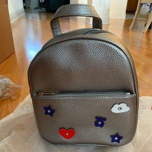 Casual Fashion Leather Mini silver Backpack